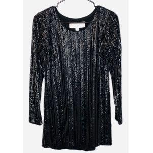 Dress The Population Long Sleeve Black Sequin Dres